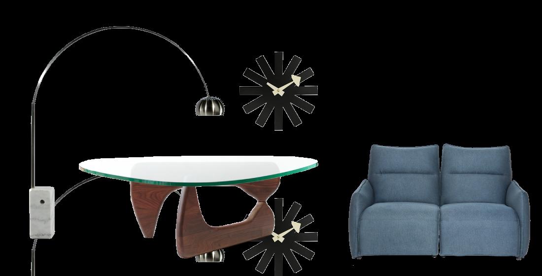 2階フロア展示アイテム アルコランプ ノグチテーブル 電動ソファ