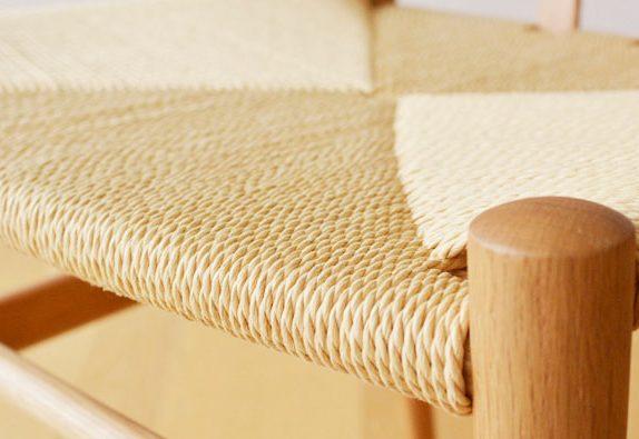 E-comfort リボーンチェア ビーチ ブラウン塗装 ナチュラルペーパーコード | 座面アップ