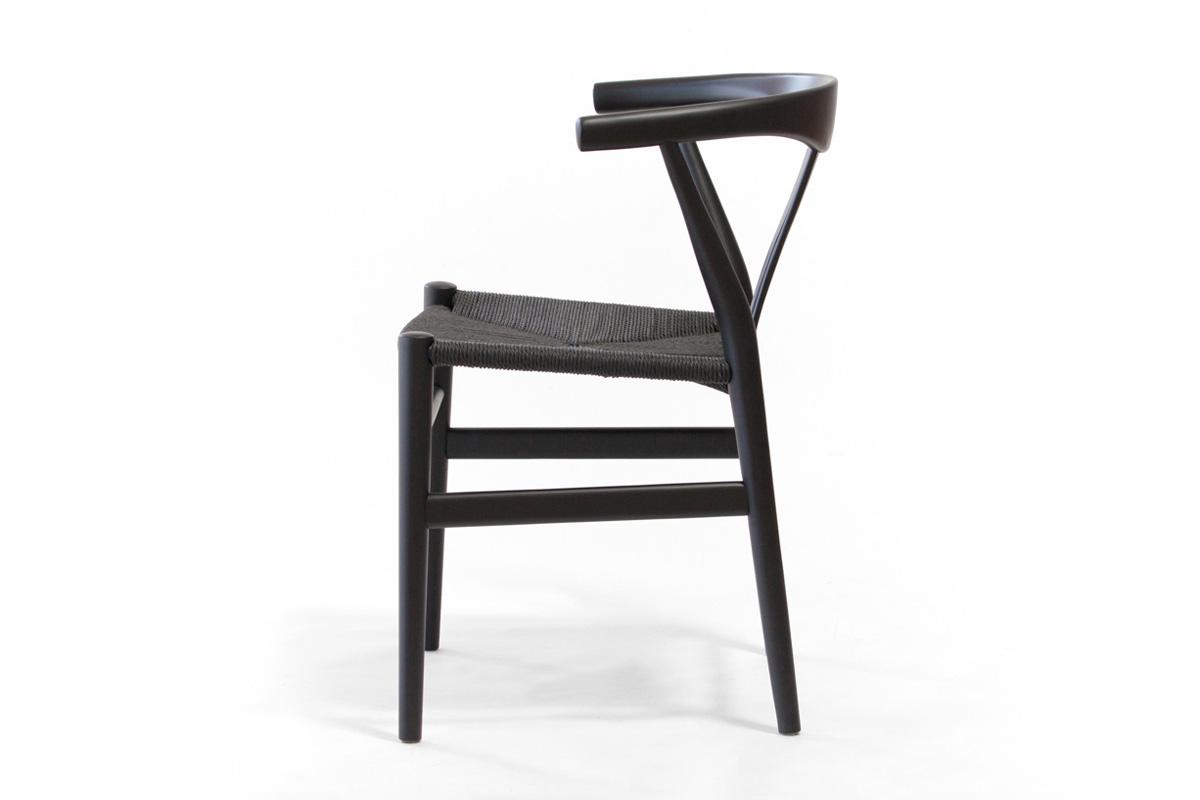 E-comfort リボーンチェア ビーチ ブラック塗装 ブラックペーパーコード | 横