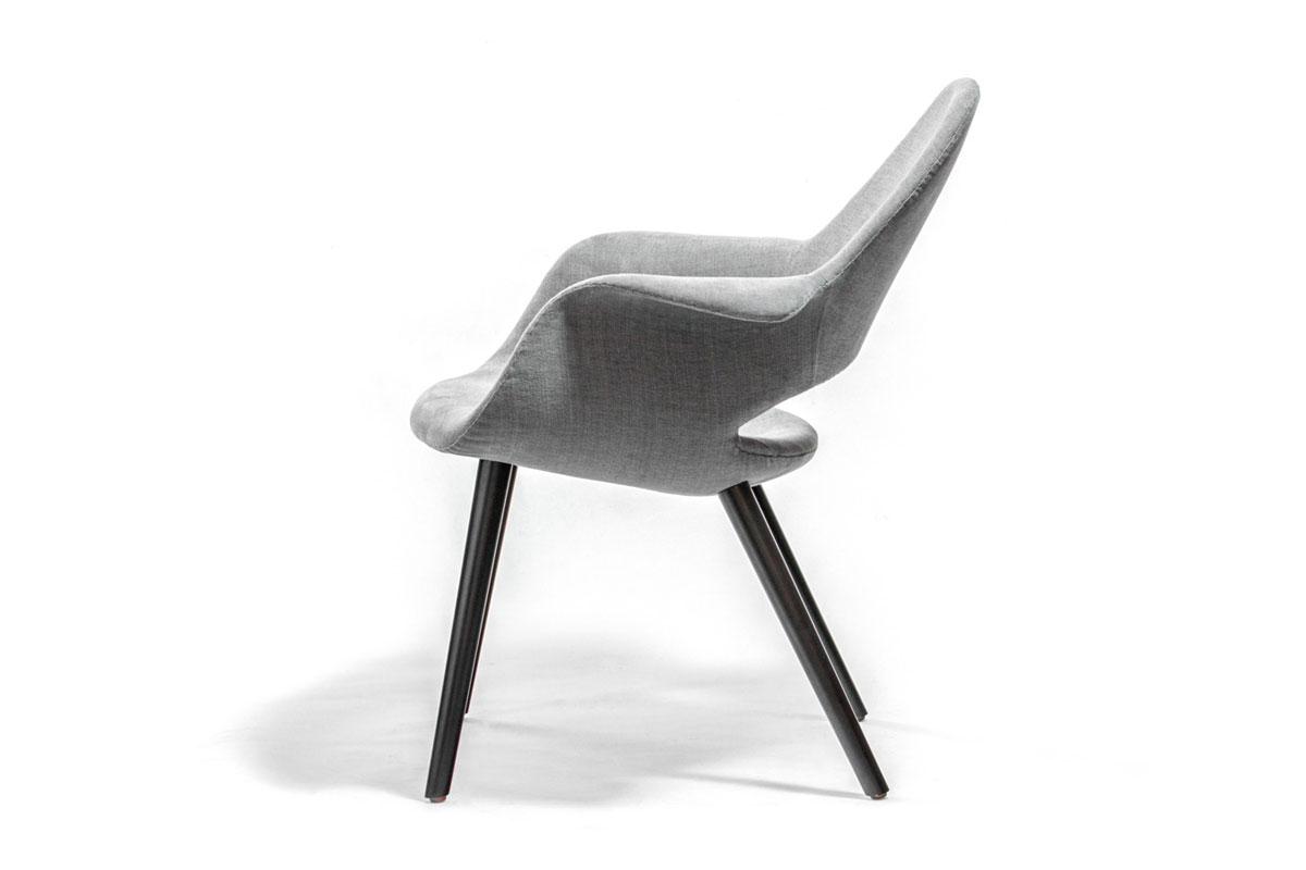 E-comfort オーガニックチェア ビーチ ブラック塗装 2Bミディアムグレー サーリネン&イームズ | 横