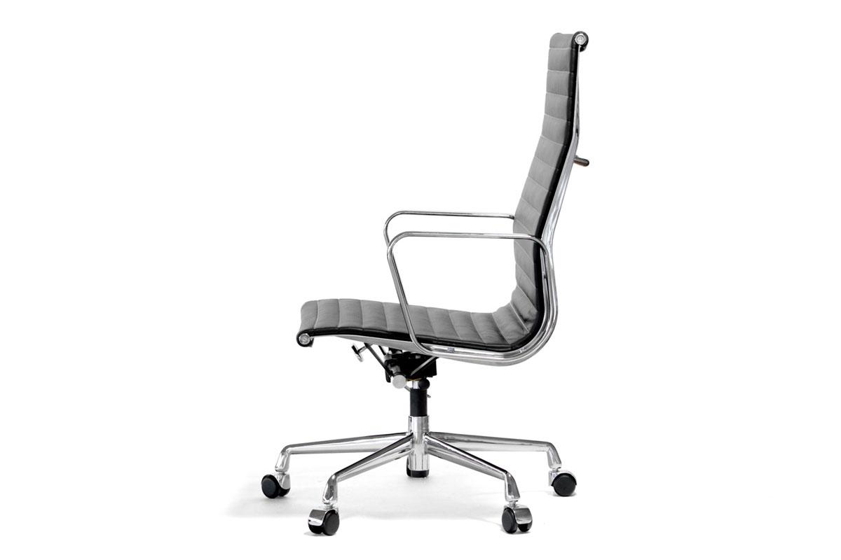 E-comfort アルミナムチェア エグゼクティブチェア フラットパッド 本革 /キャスター仕様 | レザーブラック 横