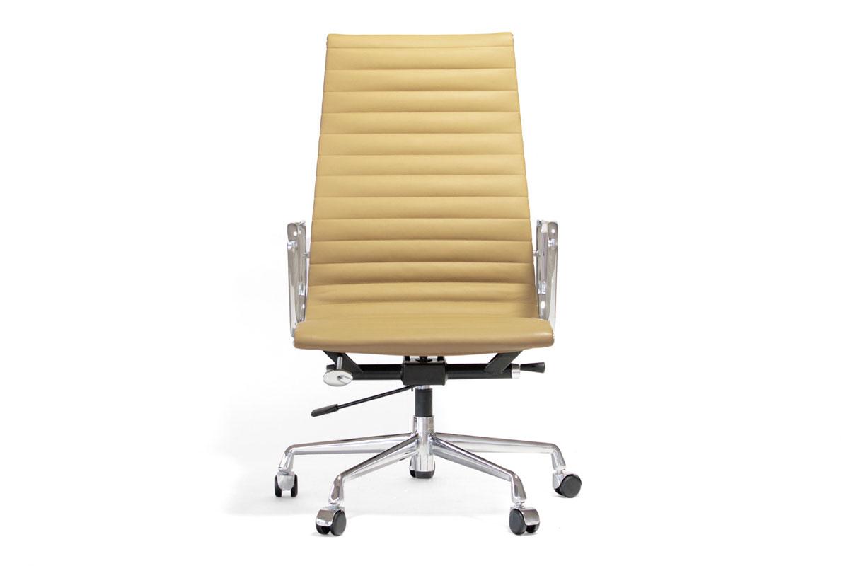 E-comfort アルミナムチェア エグゼクティブチェア フラットパッド 本革 /キャスター仕様 | レザーライトブラウン