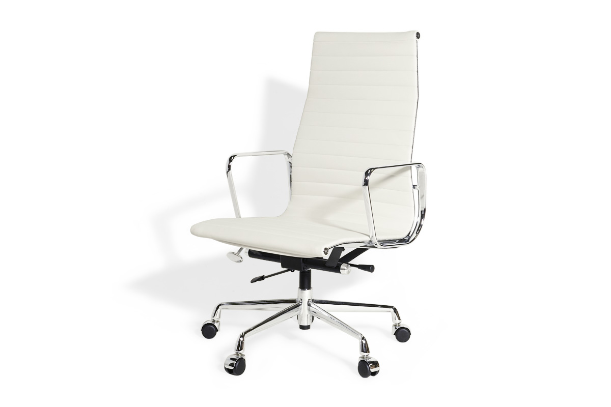 E-comfort アルミナムチェア エグゼクティブチェア フラットパッド 本革 /キャスター仕様 | レザー ホワイト