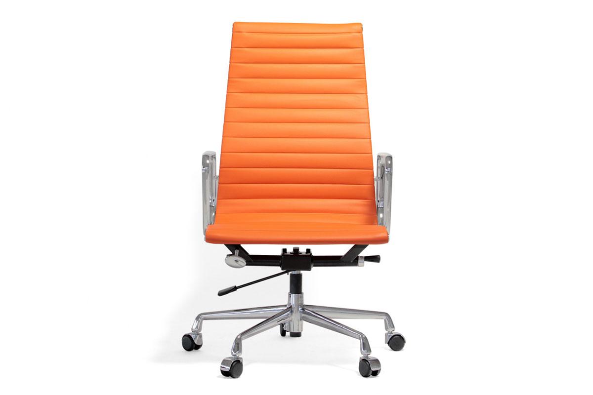 E-comfort アルミナムチェア エグゼクティブチェア フラットパッド PUレザー | PUオレンジ