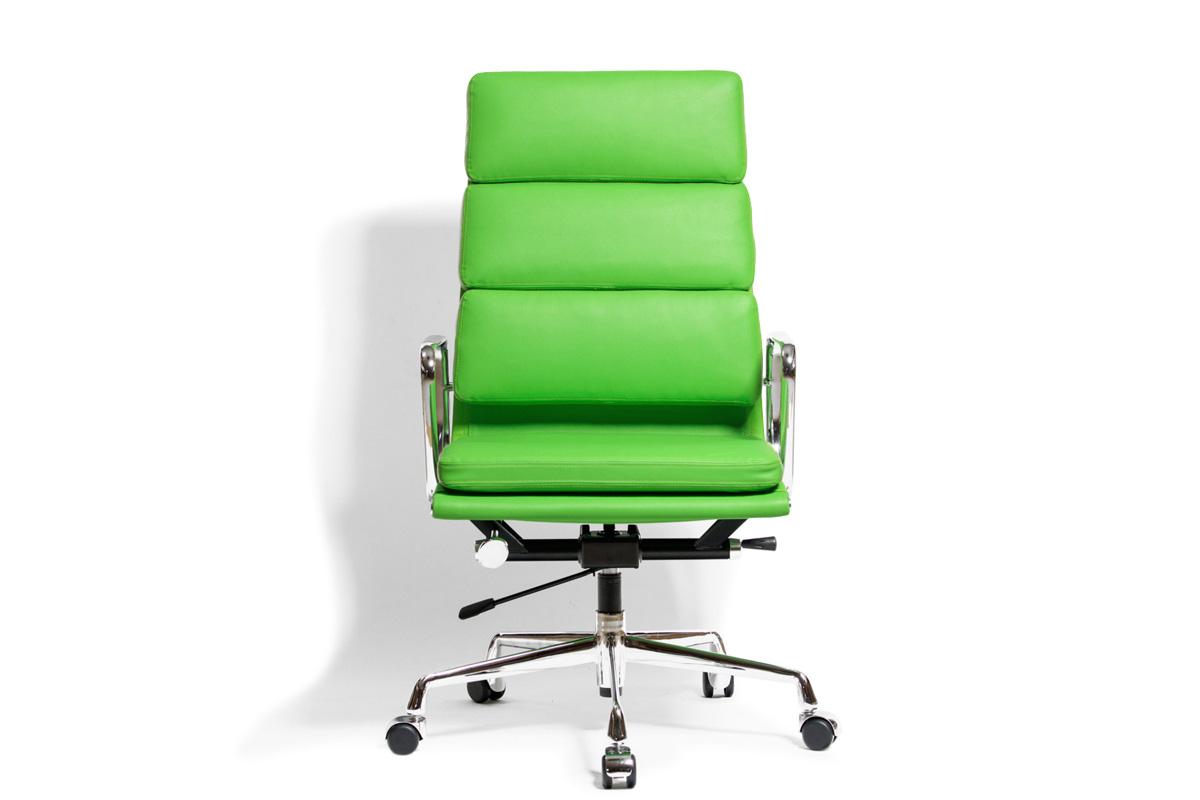 E-comfort アルミナムチェア エグゼクティブチェア ソフトパッド PUレザー /キャスター仕様 | グリーン 正面