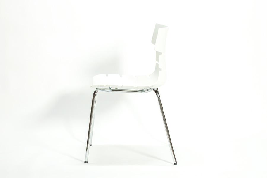 E-comfort フィッシュボーンチェア 603A ホワイト | 横