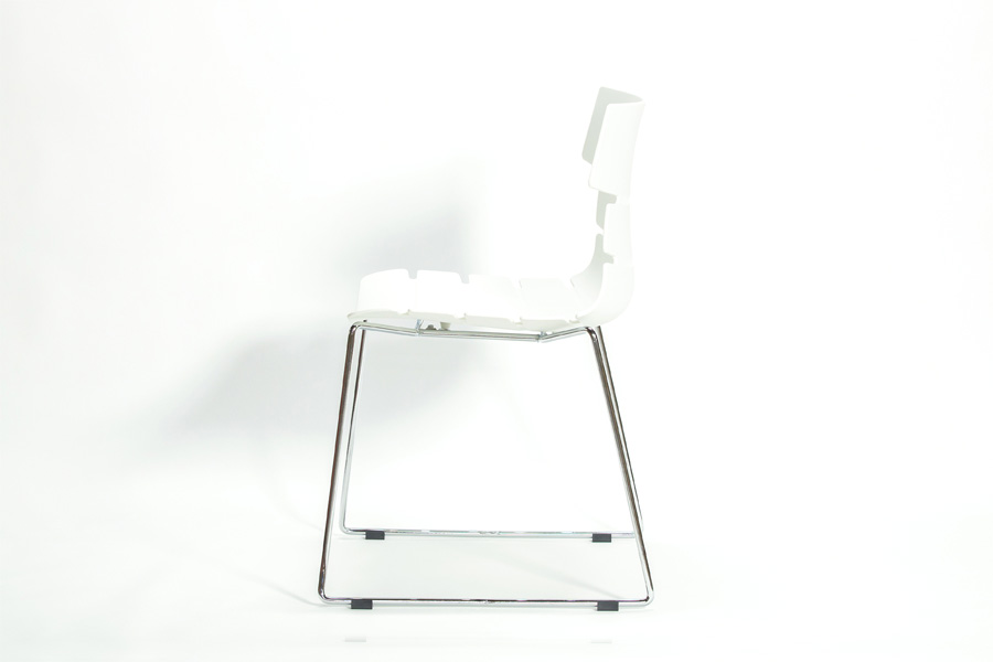 E-comfort フィッシュボーンチェア 605 ホワイト   横