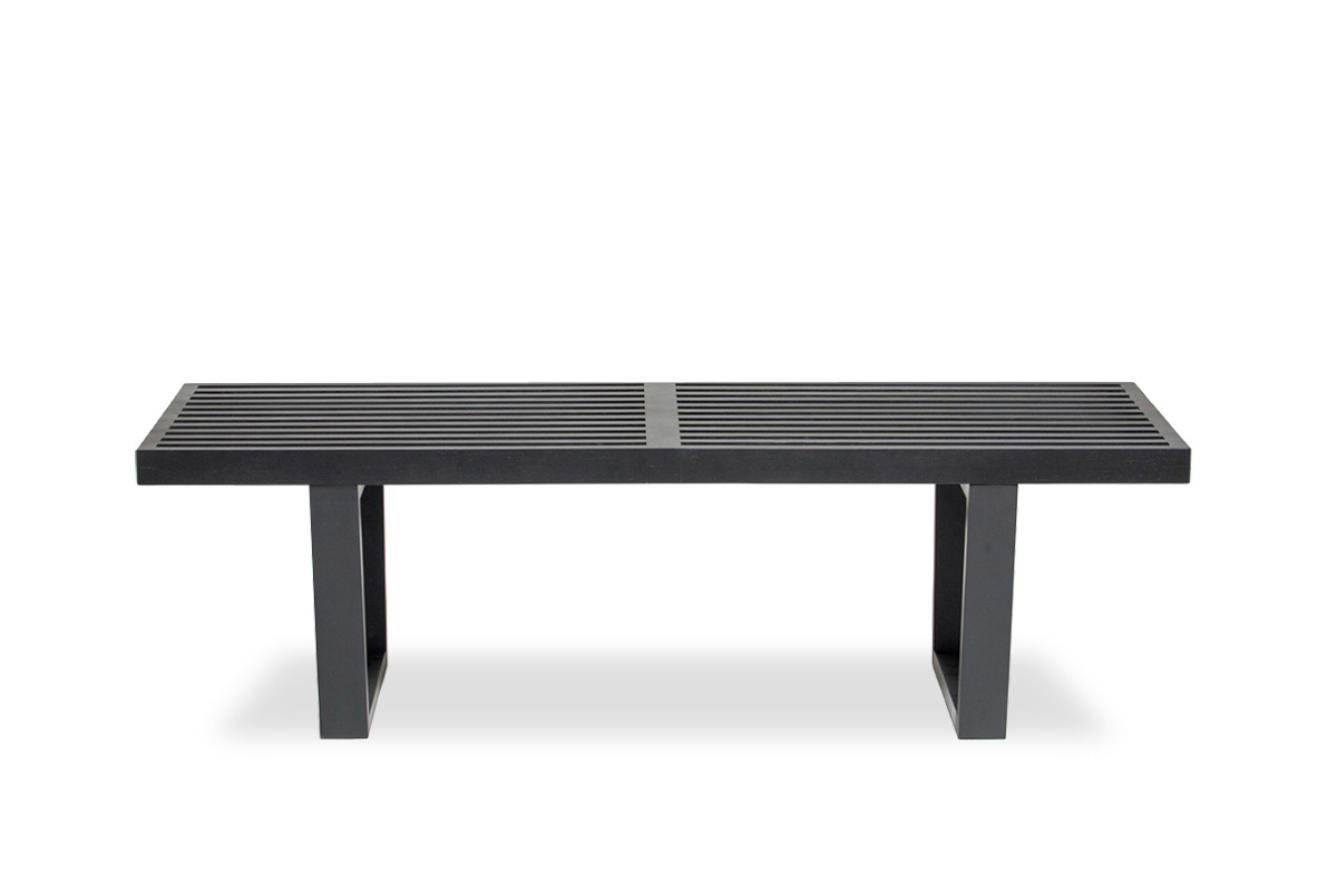 E-comfort ネルソンベンチ プラットフォームベンチ 122cm<br>オーク ブラック塗装