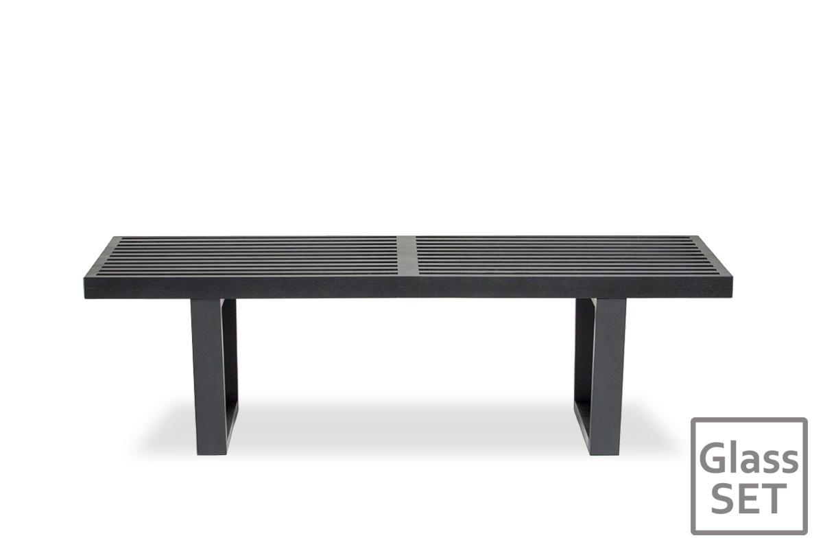 E-comfort ネルソンベンチ プラットフォームベンチ 122cm オーク ブラック塗装+専用ガラス天板 セット品 |