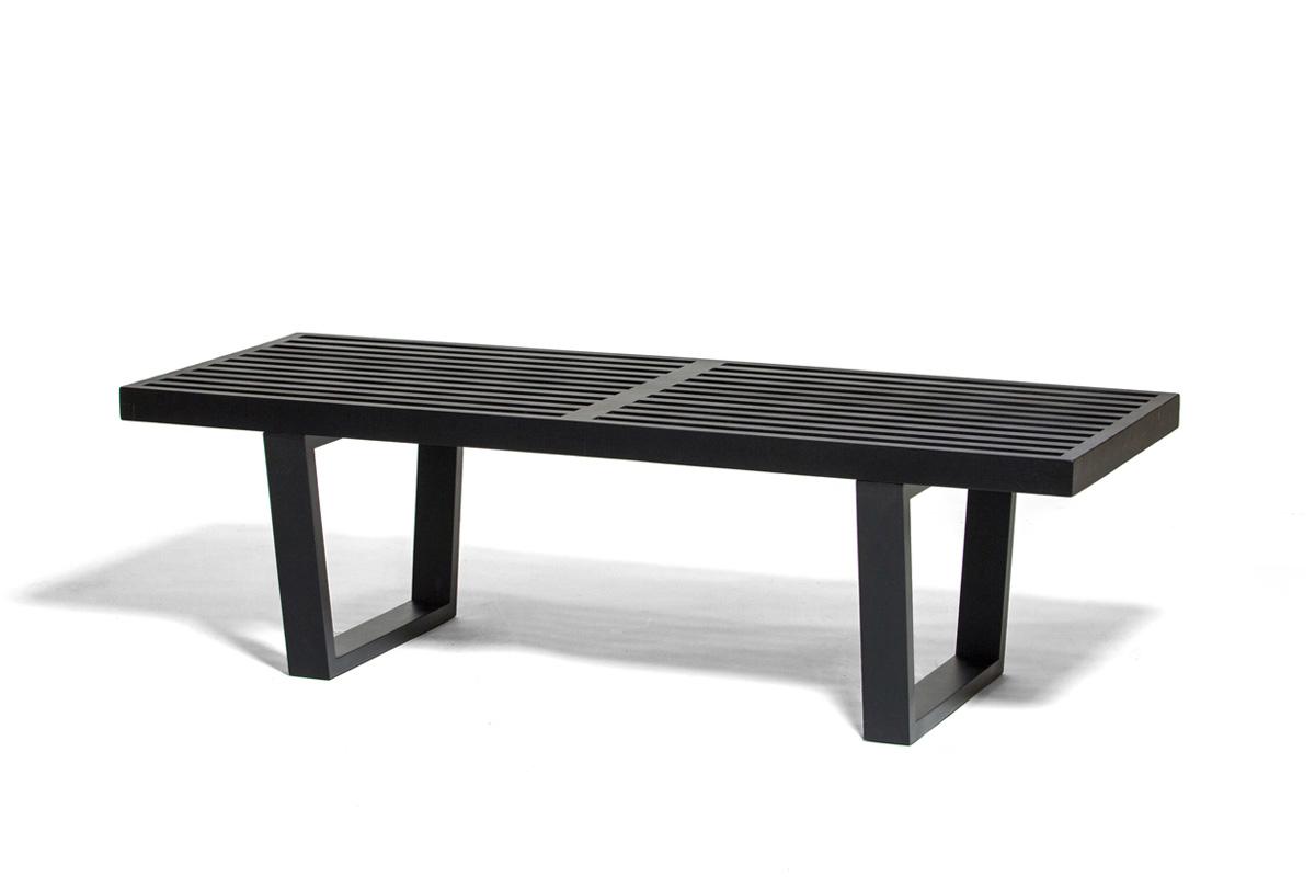 E-comfort ネルソンベンチ プラットフォームベンチ 122cm オーク ブラック塗装+専用ガラス天板 セット品 | 斜め前