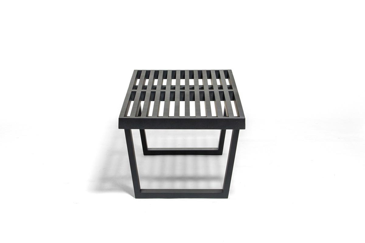 E-comfort ネルソンベンチ プラットフォームベンチ 122cm オーク ブラック塗装+専用ガラス天板 セット品 | 横