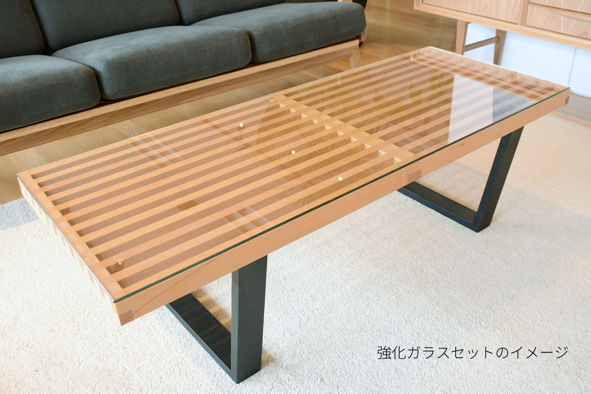 E-comfort ネルソンベンチ プラットフォームベンチ 122cm オーク ブラック塗装+専用ガラス天板 セット品 | 斜め上