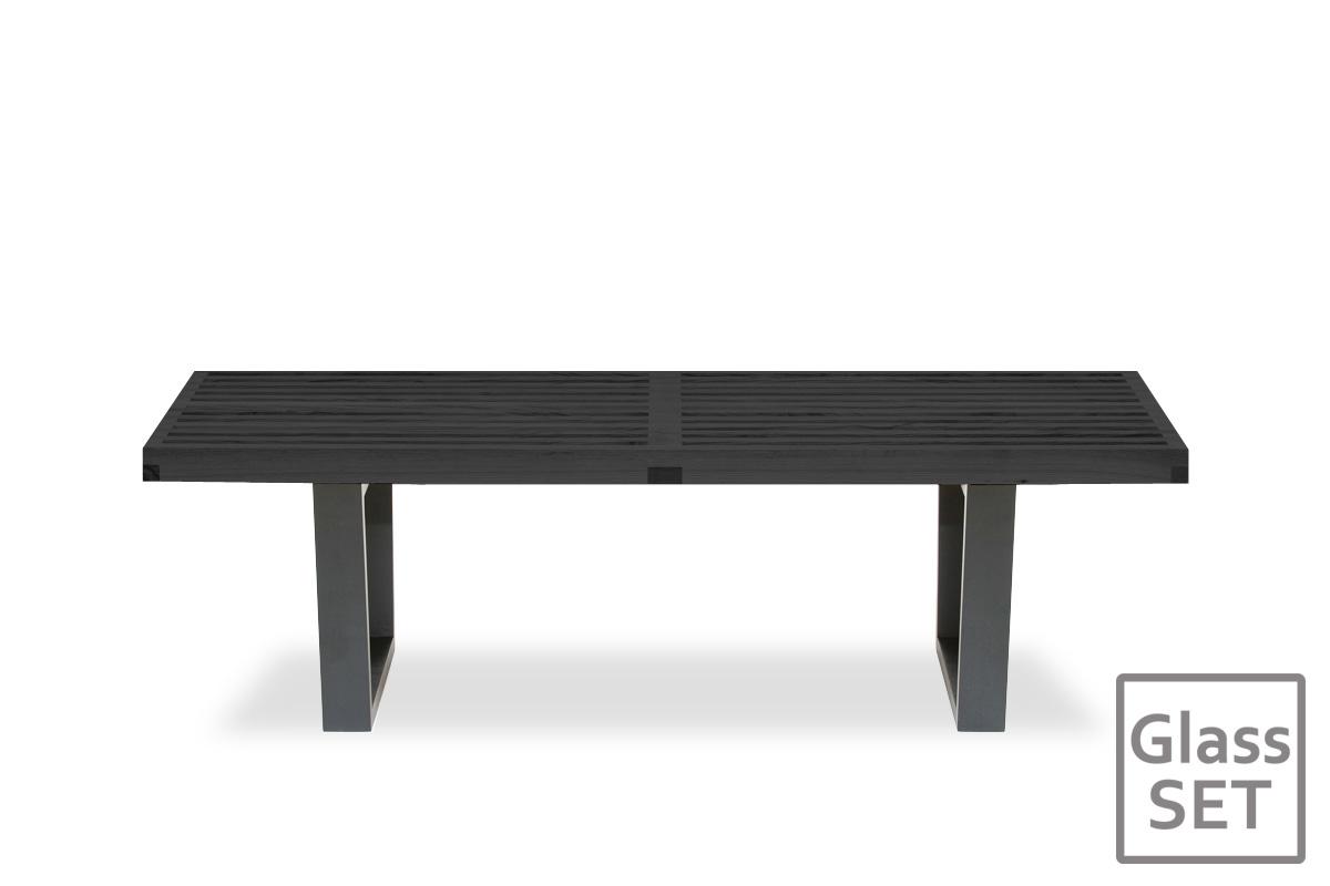 E-comfort ネルソンベンチ プラットフォームベンチ 122cm<br>アッシュ ブラック塗装+専用ガラス天板 セット品