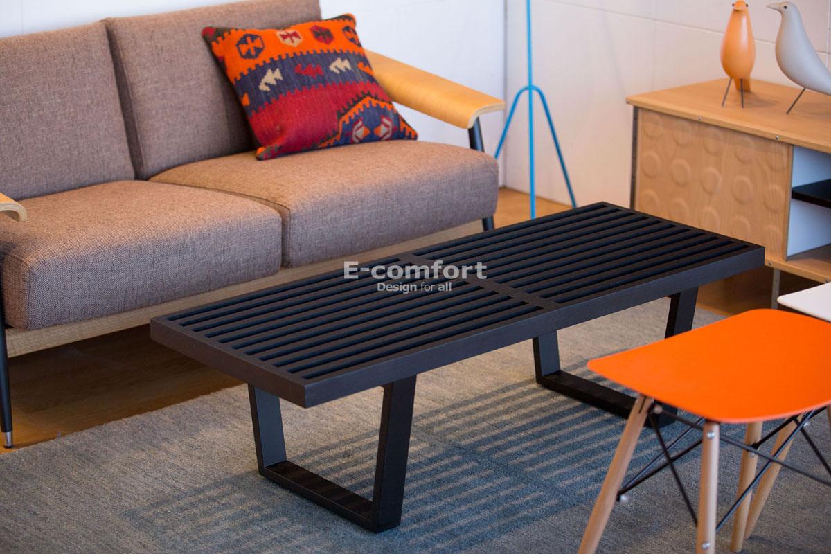 E-comfort ネルソンベンチ プラットフォームベンチ 122cm アッシュ ブラック塗装 | 設置例 デュエルソファ との組合わせ