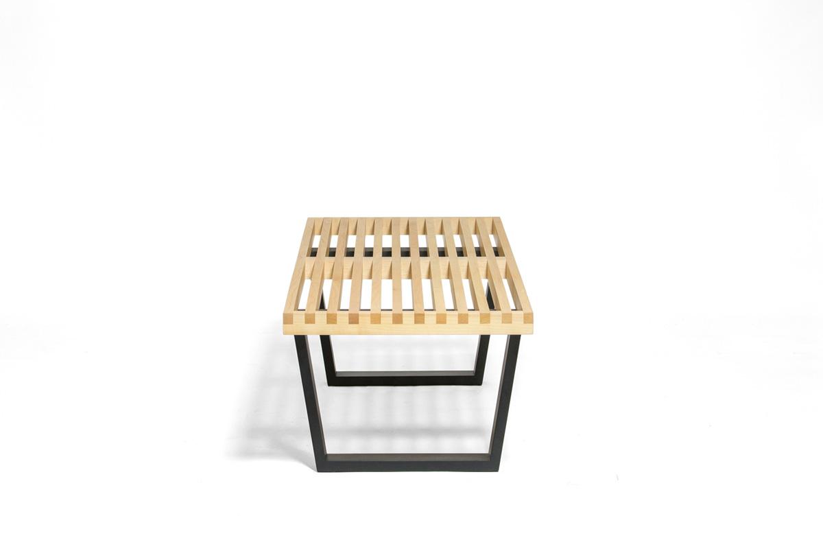 E-comfort ネルソンベンチ プラットフォームベンチ 122cm メープル+専用ガラス天板 セット品 | 横