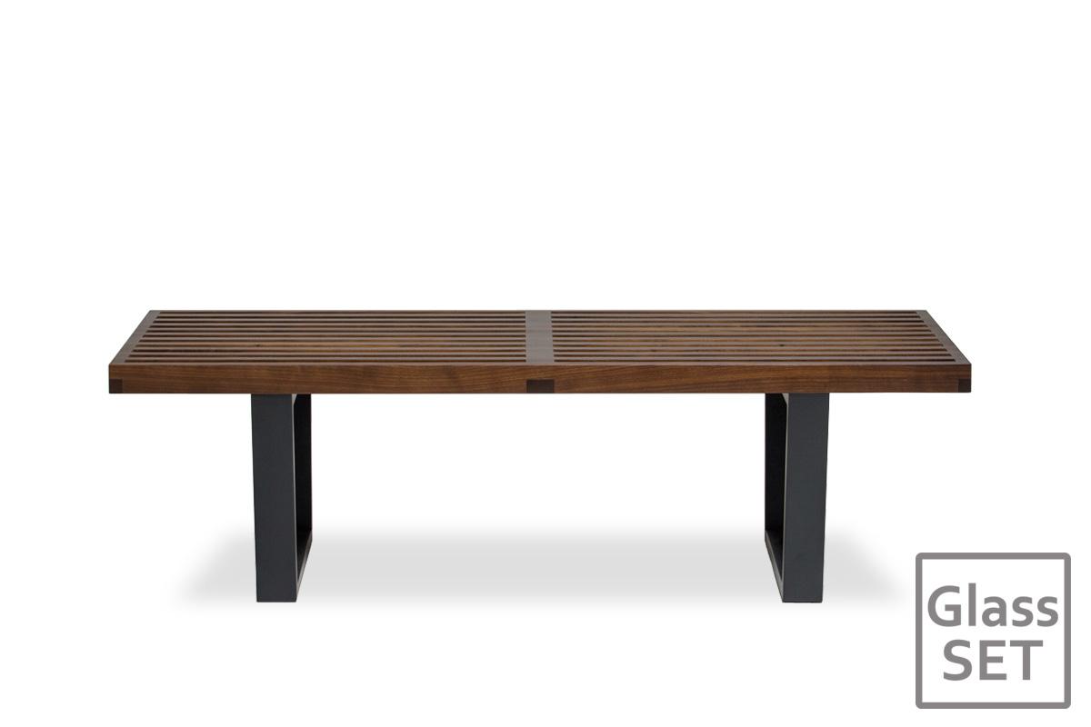 E-comfort ネルソンベンチ プラットフォームベンチ 122cm<br>ウォールナット+専用ガラス天板 セット品