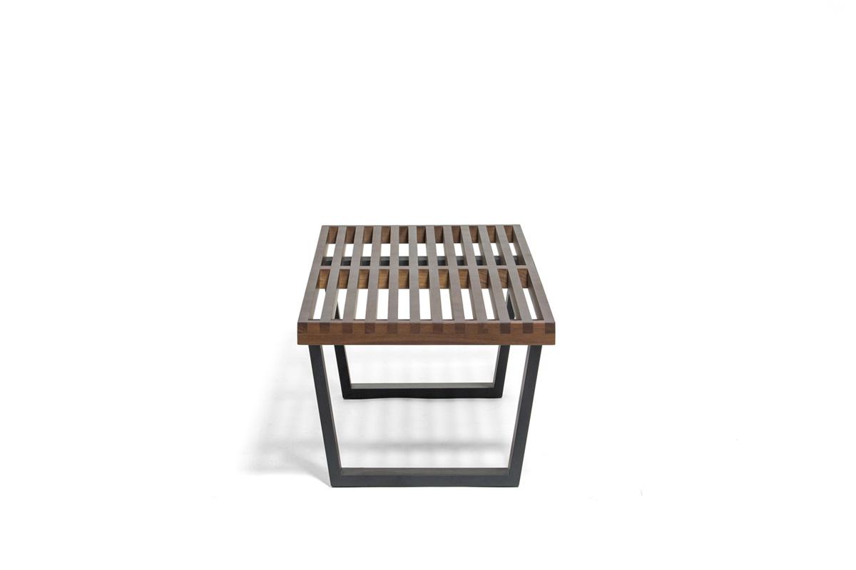 E-comfort ネルソンベンチ プラットフォームベンチ 122cm ウォールナット+専用ガラス天板 セット品   横