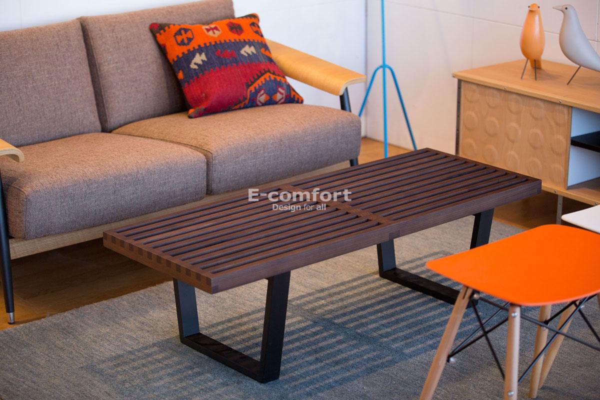 E-comfort ネルソンベンチ プラットフォームベンチ 122cm ウォールナット+専用ガラス天板 セット品   設置例 デュエル ソファ との組合わせ