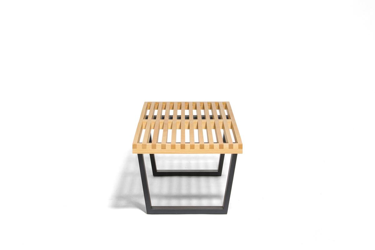 E-comfort ネルソンベンチ プラットフォームベンチ 122cm ビーチ+専用ガラス天板 セット品   横