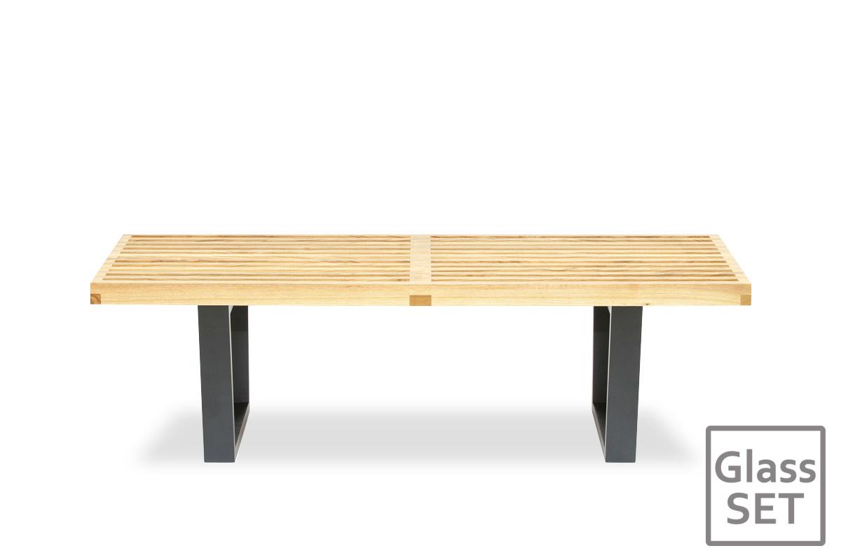 E-comfort ネルソンベンチ プラットフォームベンチ 122cm アッシュ+専用ガラス天板 セット品 | 正面
