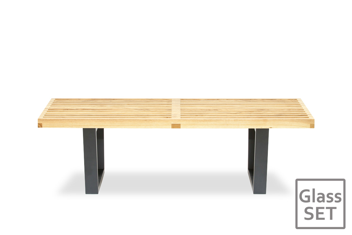 E-comfort ネルソンベンチ プラットフォームベンチ 122cm<br>アッシュ+専用ガラス天板 セット品