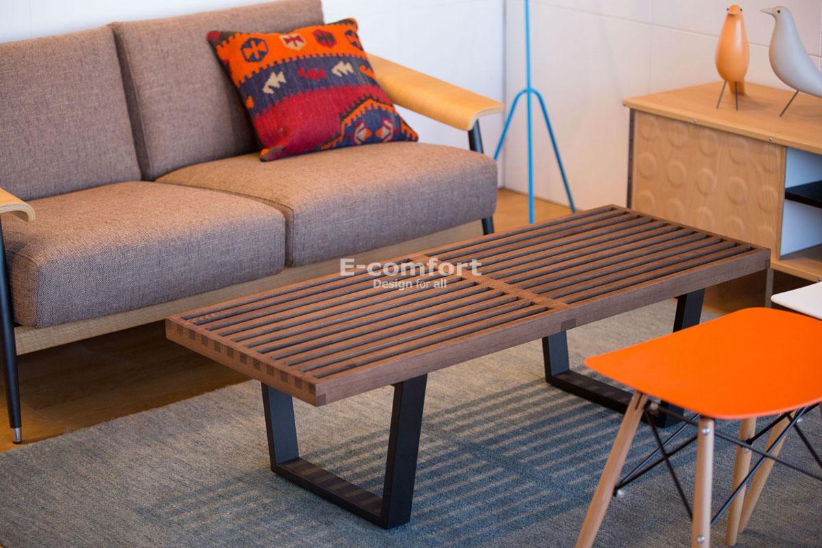 E-comfort ネルソンベンチ プラットフォームベンチ 122cm アッシュ ブラウン塗装 | 設置例 デュエルソファ との組合わせ
