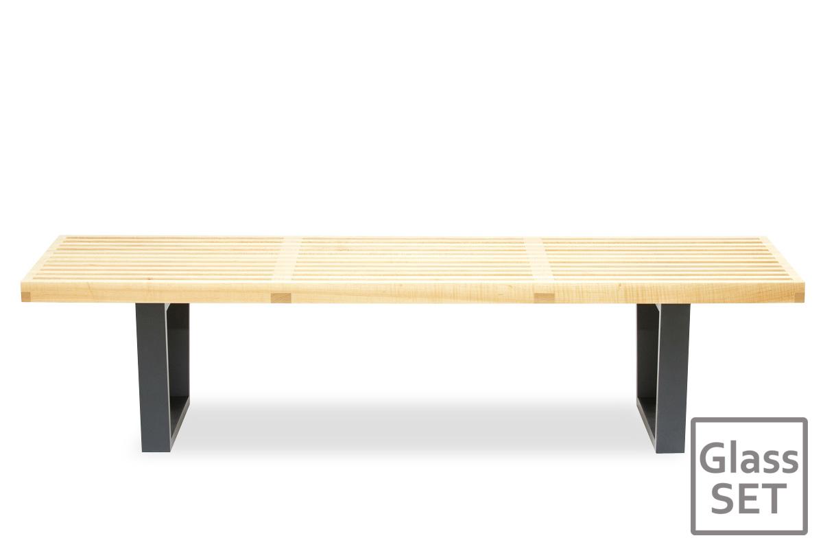 E-comfort ネルソンベンチ プラットフォームベンチ 152.5cm<br>メープル+専用ガラス天板 セット品