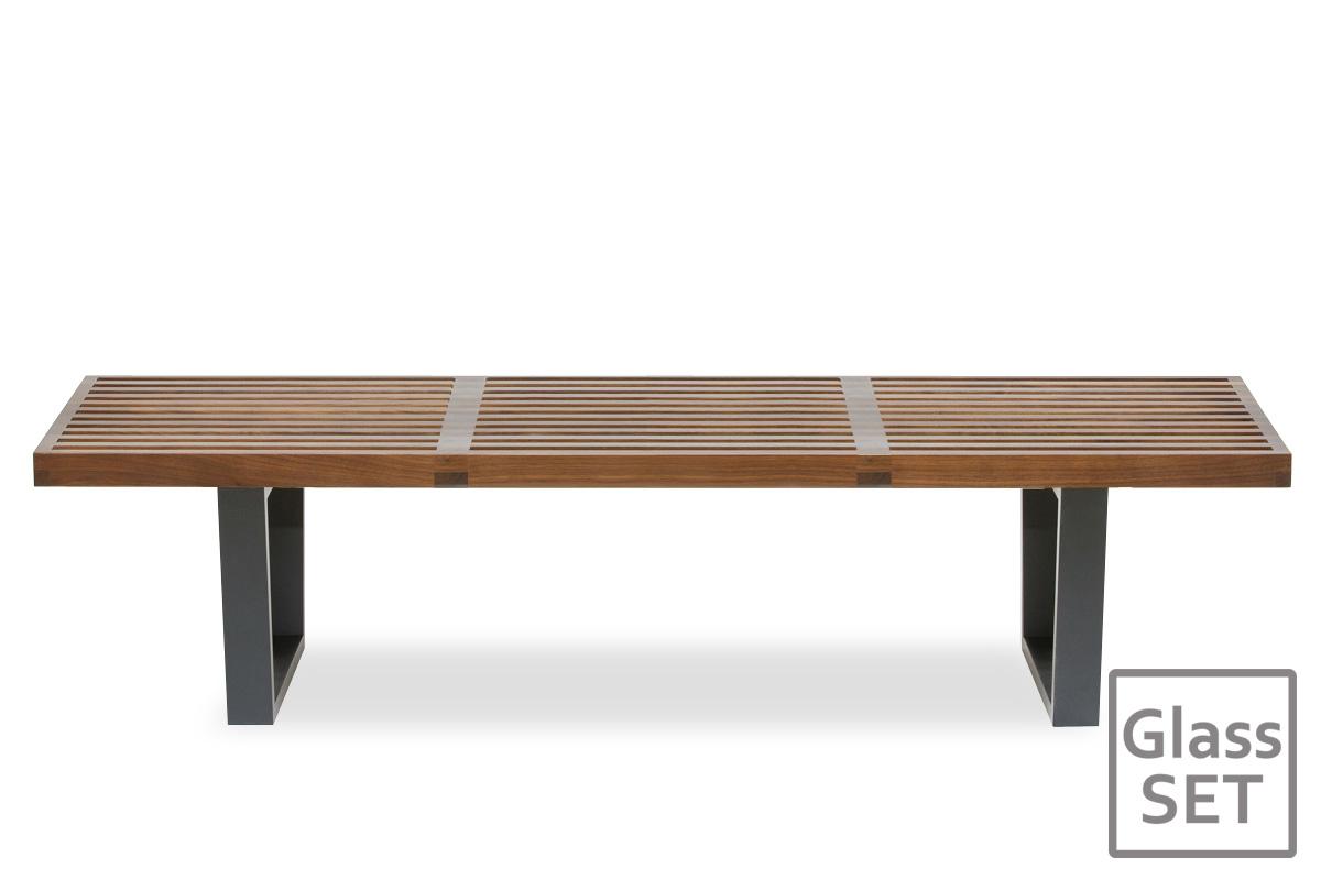 E-comfort ネルソンベンチ プラットフォームベンチ 152.5cm<br>ウォールナット+専用ガラス天板 セット品