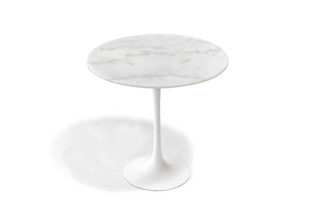 E-comfort チューリップコーヒーテーブル ラウンドサイドテーブル 大理石ホワイト |