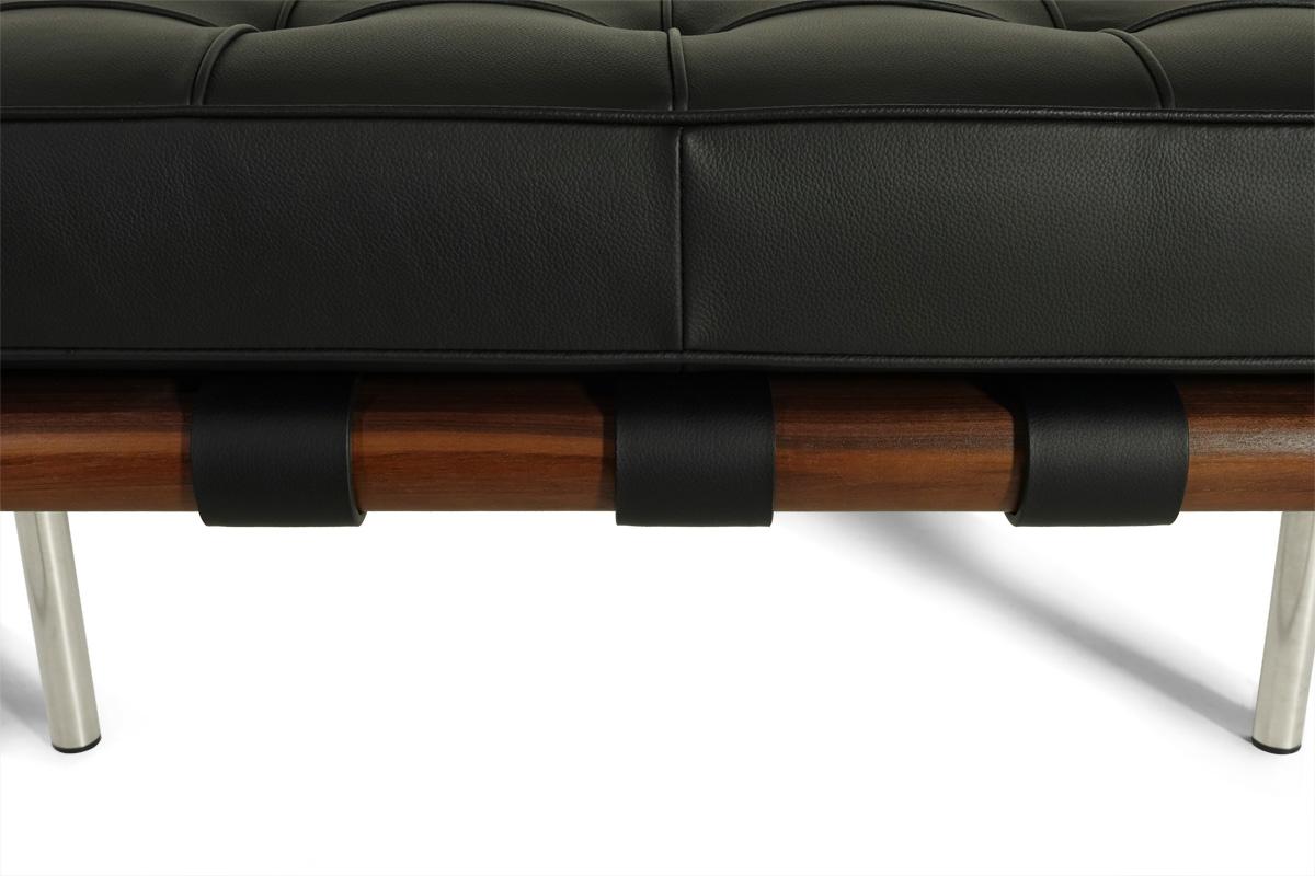 E-comfort バルセロナ ショートベンチ ウォールナット レザー0Aブラック |