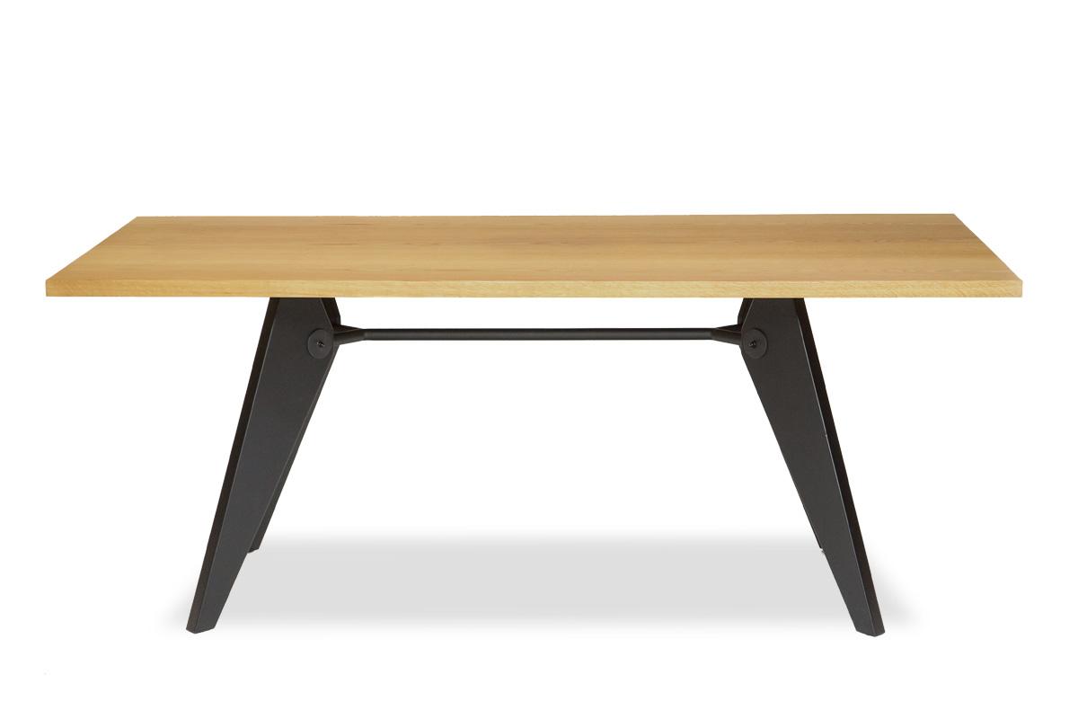 E-comfort ソルベイ テーブル 180cm オークxビーチ ブラック塗装 | 正面