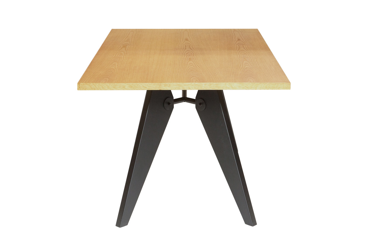 E-comfort ソルベイ テーブル 180cm オークxビーチ ブラック塗装 | 横