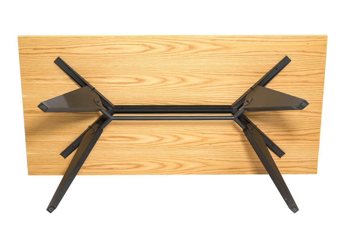E-comfort ソルベイ テーブル 180cm オークxビーチ ブラック塗装 | 底
