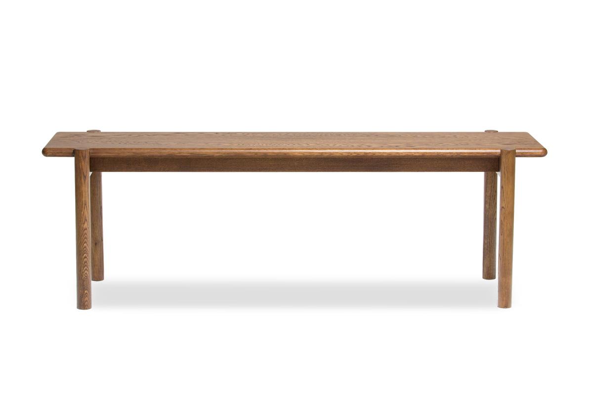 E-comfort アンドラ 丸脚ベンチ 135cm<br>オーク ブラウン塗装