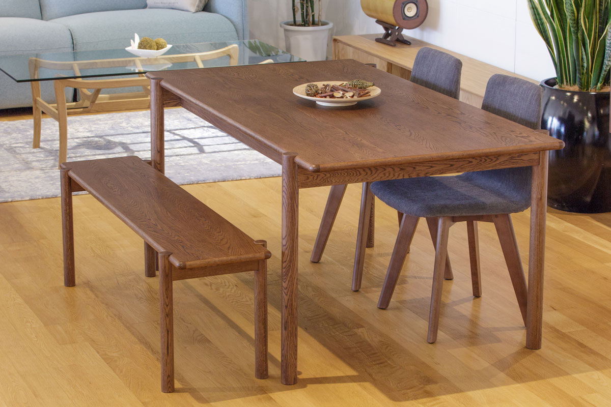 E-comfort ダイニングテーブル[4点セット] アンドラ丸脚ダイニングテーブルw160ブラウン +マーズチェアK504+アンドラ丸脚ベンチ |