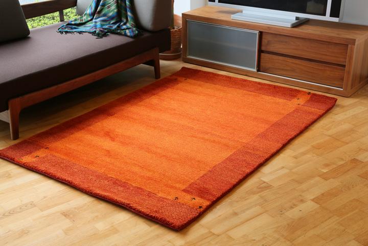 E-comfort 5/28ハンドノッテッド ギャッベ ディテイル No.12 230x160cm オレンジ