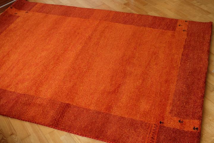 E-comfort 5/28ハンドノッテッド ギャッベ ディテイル No.12 230x160cm オレンジ |