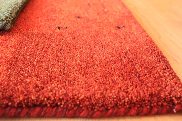 E-comfort 5/28ハンドノッテッド ギャッベ ディテイル No.12 200x140cm ラスティーレッド |