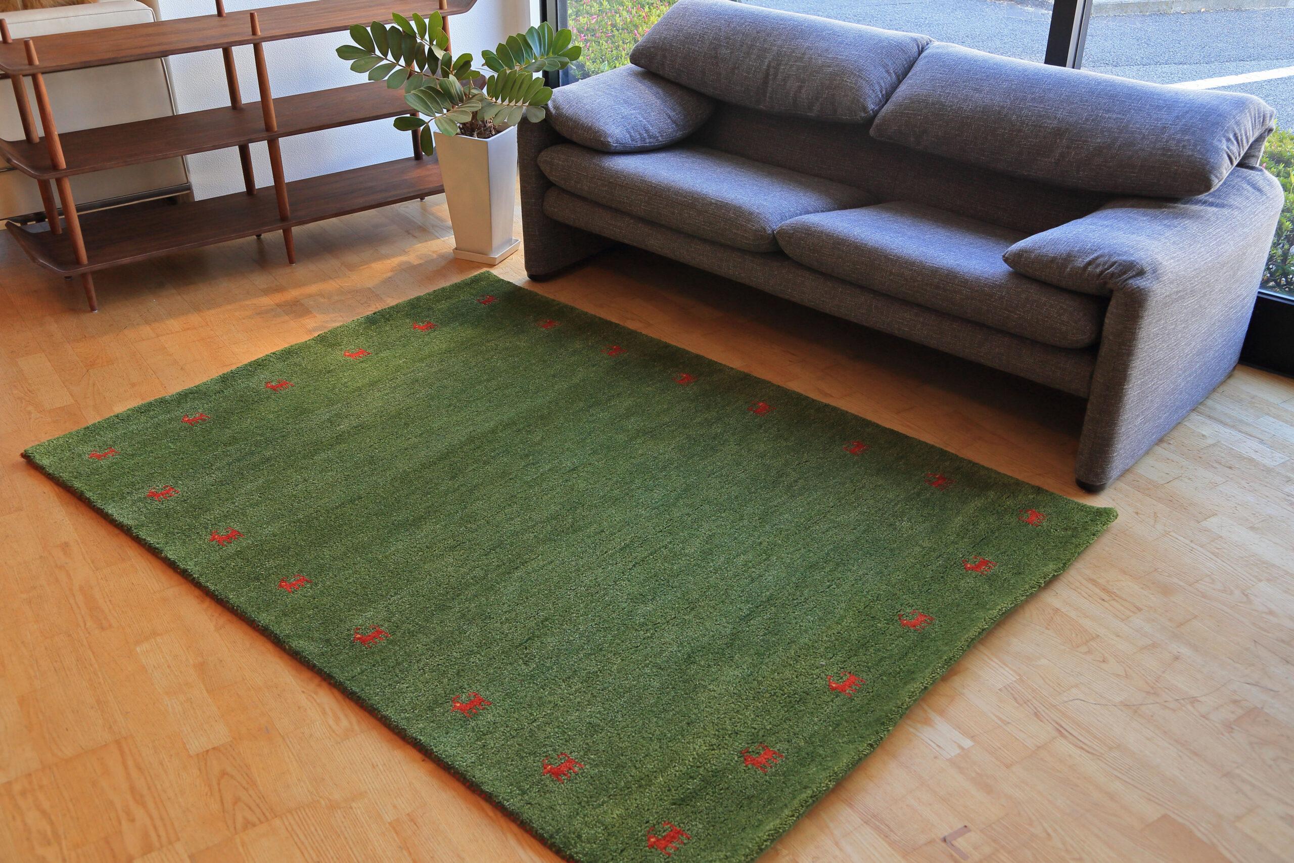 E-comfort 5/28 ハンドノッテッド ギャッベ 230x160cm  No.101 グリーン |