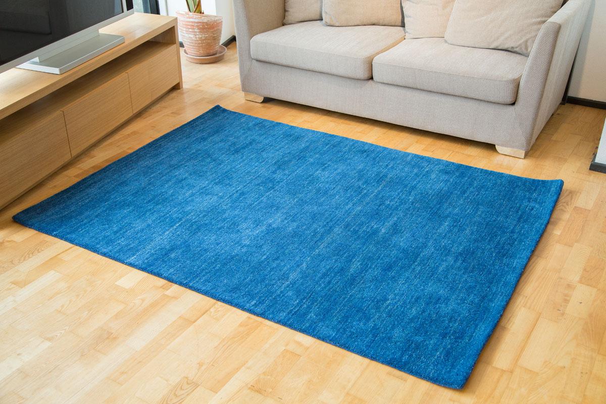 E-comfort ギャッベ ハンドルーム プレーン 230x160cm  ブルー |