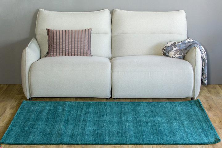 E-comfort 手織りウールラグ ルリバフ プレーン 200x140cm テールターコイズ |