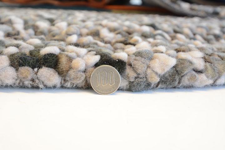 E-comfort ウール ぺブル シャギー グレーミックス 230x160cm  グレーMIX |
