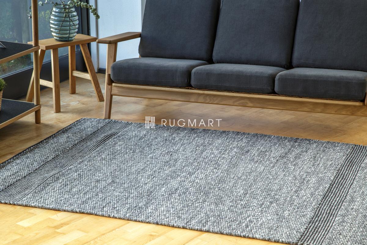 E-comfort ハンドウィーブ ウール ラグ ペドロ 140x200cm デニムグレー |