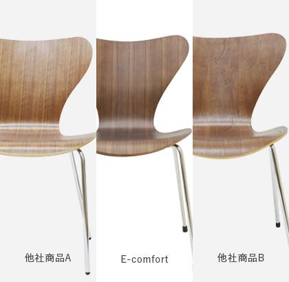ウォールナット材の座面比較写真 美しい木目とくびれの滑らかな曲線美