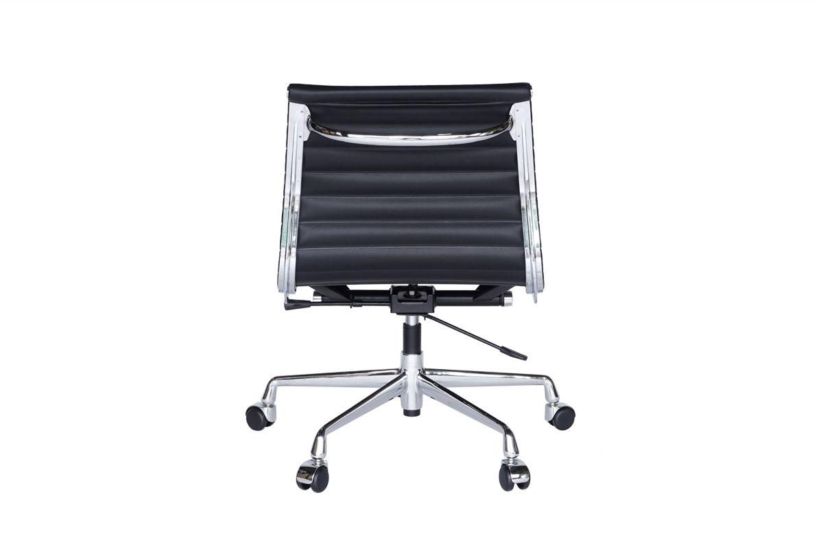 E-comfort アルミナムチェア マネジメントチェア フラットパッド アームレス 本革 /キャスター仕様  