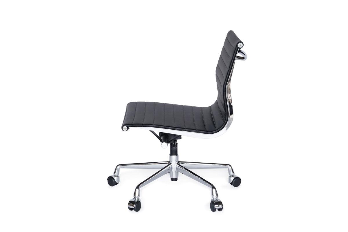 E-comfort アルミナムチェア マネジメントチェア フラットパッド アームレス PUレザー /キャスター仕様 |